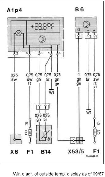 электросхема подключения градусника на машинах после 09/1987 года.  Цитата(Murad).  15 клеме замка зажигания , W1...